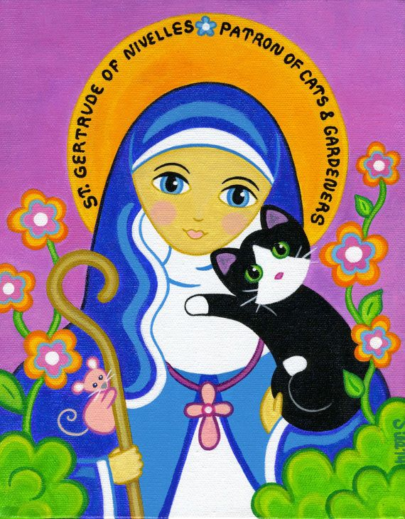 Saint Gertrude, the Patron Saint of Cats & Gardeners, stands in her beautiful flower garden holding her tuxedo cat Luke. This is a PRINT of my
