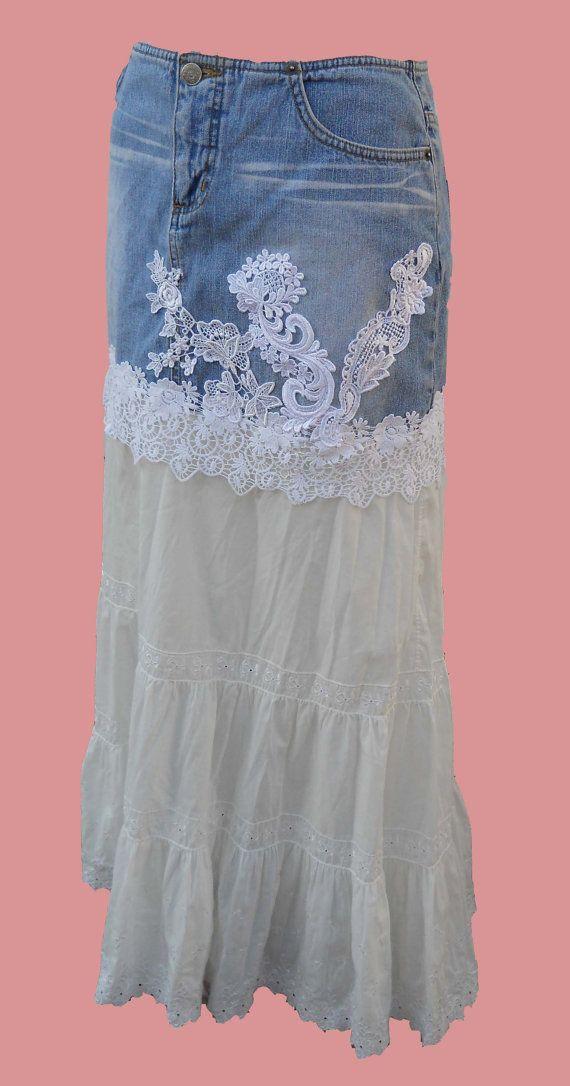 MEDIUM SKIRT Long Denim Skirt Upcycled Denim by RandomRosesCottage