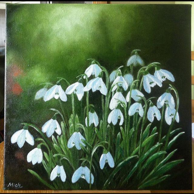 Snowdrops. Original oil on canvas