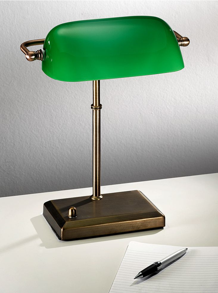 TL877 Banker's table lamp, antique bronze with green glass shade. Antique bronze banker's lamp with adjustable green glass shade and dimmer switch. 1 x 60w E27 Lamp not included Height- 36cm Base Width- 18.5cm x 12.5cm Width- 28cm BRAND- Franklite REFERENCE- TL877 AVAILABILITY: 3-4 Working Days