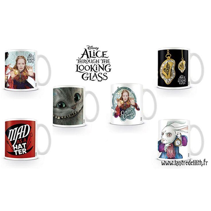 """Lot de 6 mugs """"Alice through the looking glass"""" / Tasses """"Alice de l'autre côté du miroir"""""""