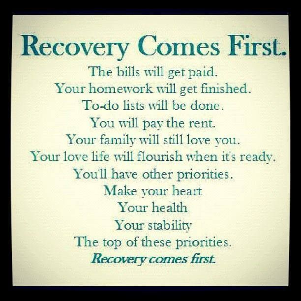 Recovery comes first: