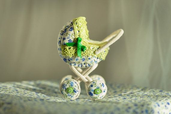 Soft textile miniature toy baby carriage by AnnaToys on Etsy, $43.00
