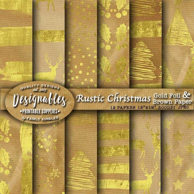 "Gold Christmas Paper ""CHRISTMAS PAPER"" Digital Papers Rustic Christmas papers Christmas Brown Paper Background 12x12, Instant Download by DesignableSupplies on Etsy"