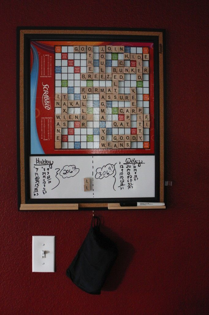 Magnetic Scrabble for the hallway.  This way we can have a constant game :) ~ Fun idea!