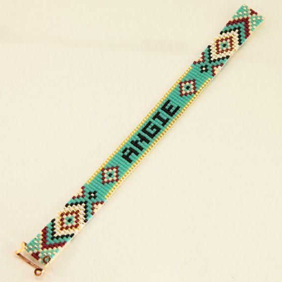 Personalized Name Bead Loom Bracelet Artisanal by PuebloAndCo