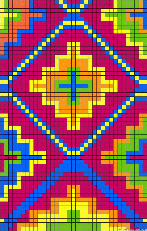Stand out  friendship-bracelet.Would also look good done in cross stitch,quilt,or filet crochet.really like the design.
