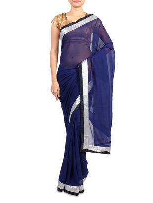 navy blue georgette saree with silver border for Rs. 1599/- Shop Now http://www.limeroad.com/navy-blue-georgette-saree-with-silver-border-a-r-fashion-p1277954#productOverlay