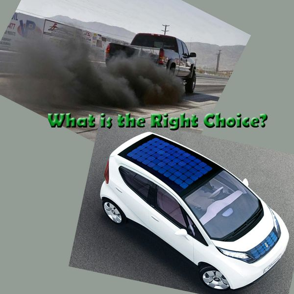 """What is the """"Right Choice""""?  A Car with pollution or A Solar Car which is pollution free. Know more about """"Solar Energy"""": http://goo.gl/Xho5Ji #Solar"""