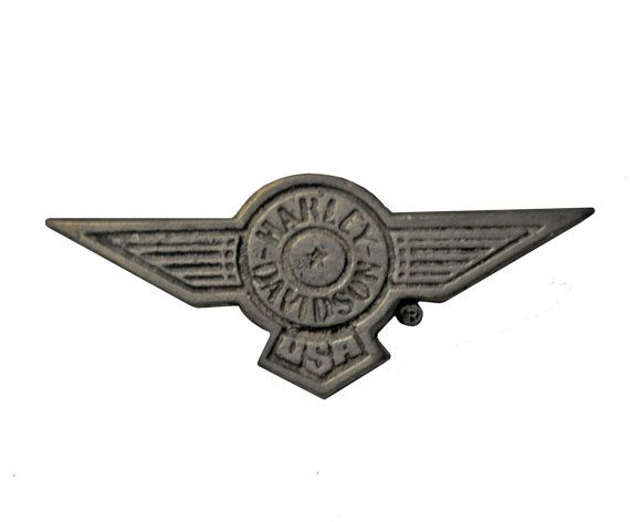 """HARLEY DAVIDSON USA Wings vintage pin lapel badge metal motorcycle Official Merchandise by VintageTrafficUSA  14.00 USD  A vintage Harley Davidson wing pin used but excellent condition. Official Harley logo on back! Measures: less than 1"""" Have some individuality = some flair! 20 years old hard to find vintage high-quality lapel/pin. These rare pins are proven to win you friends and influence people! Add inspiration to your handbag tie jacket backpack hat or wall…"""