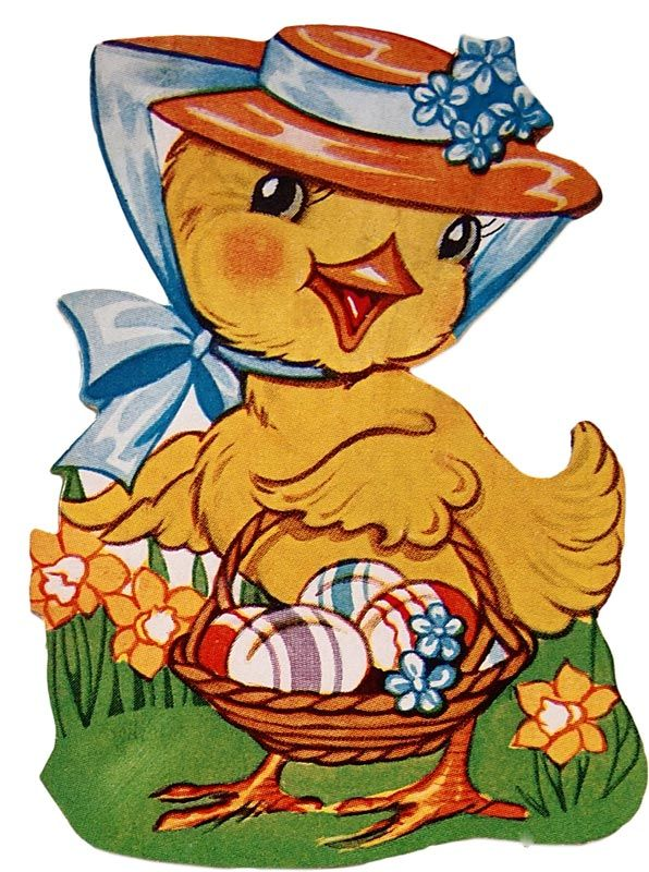 Cute Retro Easter Chick with Basket @ Vintage Fangirl ... Easter Clip Art Free Retro