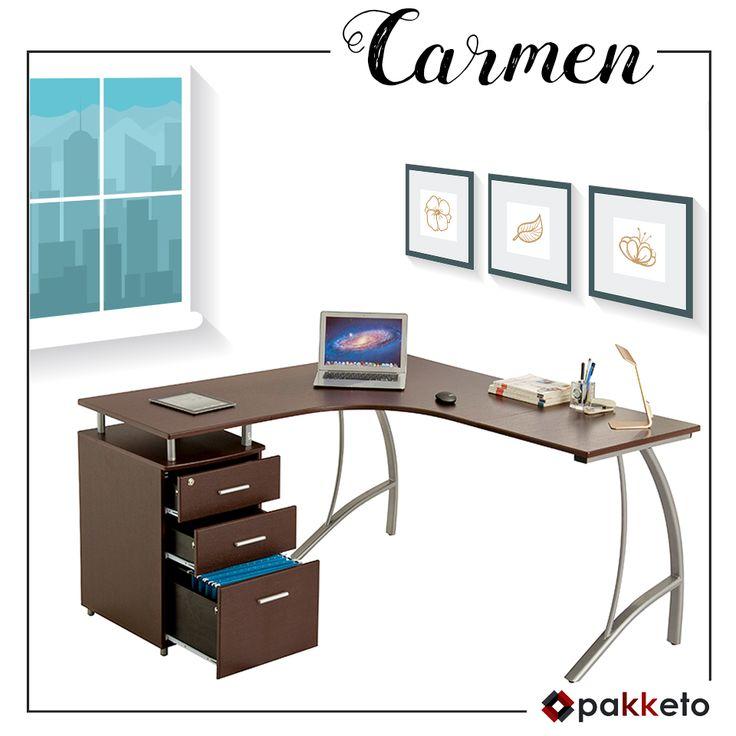 Το γραφείο-γωνία λέγεται Carmen γιατί ξεχωρίζει με το ευέλικτο design του!  Μεταλλικό, με επιφάνεια από PVC χρώμα wenge και 3 συρτάρια στο πλάϊ, είναι η πρακτική λύση που χρειάζεσαι! Ανακάλυψέ το εδώ https://www.pakketo.com/grafeio-metalliko-me-epifaneia-apo-pvc-xroma-kafe-151-5x143-5x76ek Παράδοση σε Ελλάδα και Κύπρο.