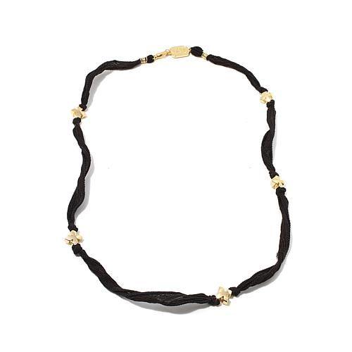 King Baby Jewelry Silk Wrap Goldtone Cross Bracelet - Red