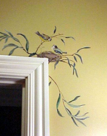 Feathered nest of hope ≗ bird feather nest art jewelry decor bird nest painted on wall