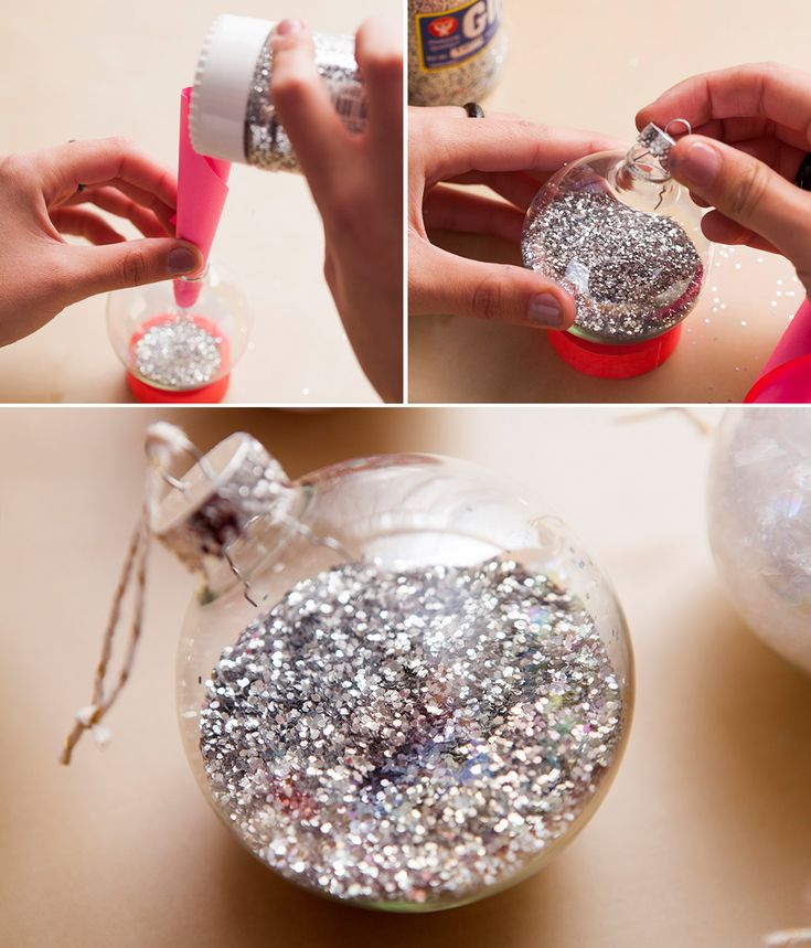 Fill a clear ornament with silver glitter to make this festive tree topper.