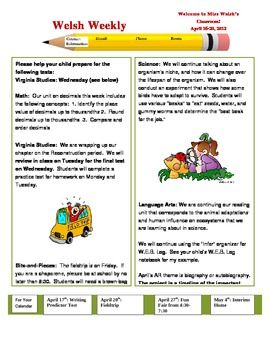 This is an example of my classroom newsletter.  The body is Microsoft Word, and can easily be changed.  I use the clipart at Phillip Martin's Websi...