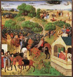 Huit moments de La Chanson de Roland (enluminure) 12°s- CHARLEMAGNE. 7) POINTS PARTICULIERS 7.1 LES NOMS DE CHARLEMAGNE, 4: Dans la chanson de Roland, en ancien français, l'empereur est nommé de plusieurs façons: Carles ou Charles, Carles li magnus ou Charles li magnus, traductions de Carolus magnus, mais aussi Charlemagne. L'adjectif grant est fréquent dans la chanson de Roland, mais n'est pas utilisé pour nommer l'empereur.