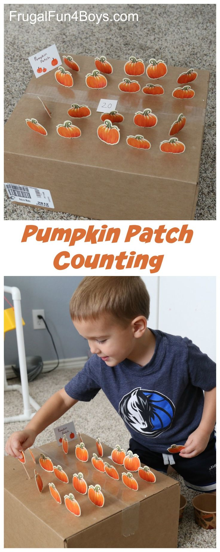 Pumpkin Patch Fine Motor and Counting Game - Draw a number and count the pumpkins! Kids will love sticking them in the slots.