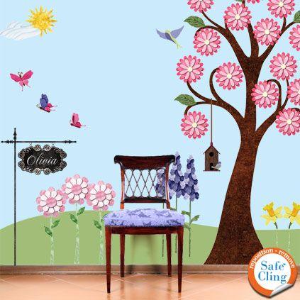 For my daughter room: Flowers Gardens, Garden Walls, Wall Murals, Wall Decals, Gardens Wall, Wall Stickers, Girls Rooms, Girl Rooms, Kids Rooms