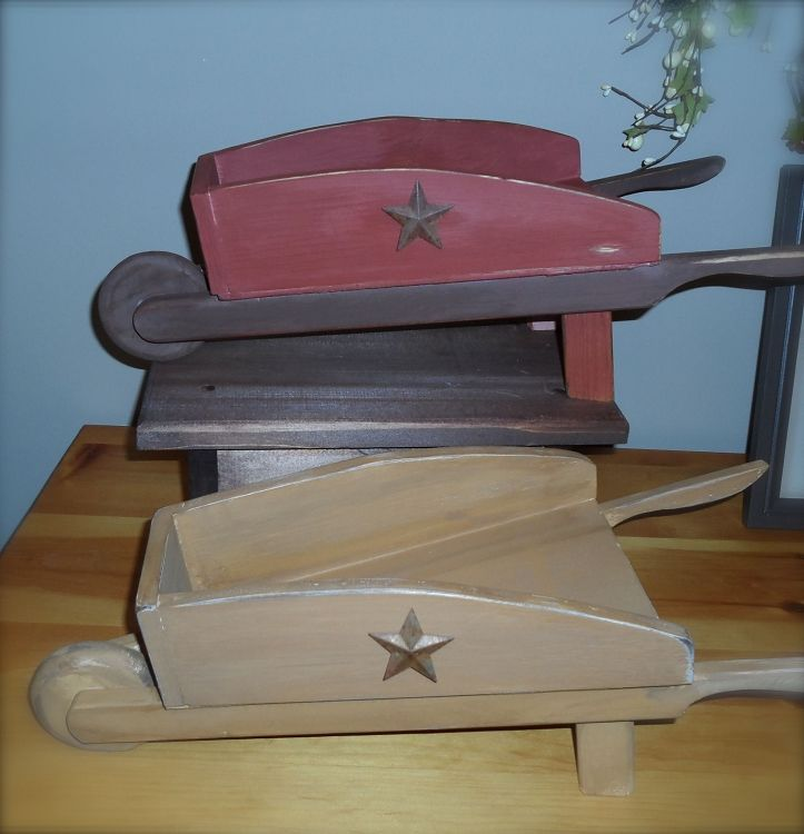 Country Primitive Wheelbarrow Wood Craft With Rustic Stars