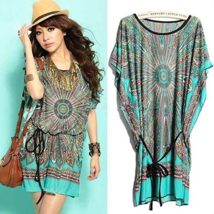 2014 Summer Vintage Bohemian Casual Dresses Women&-39-s Plus Size Ice ...