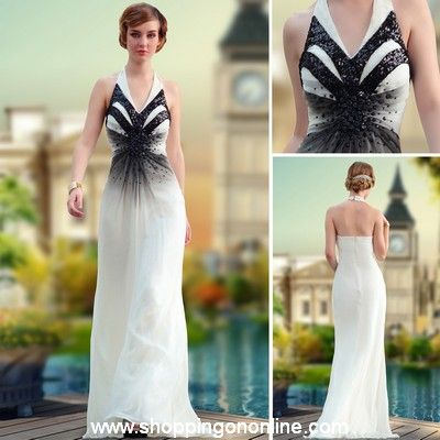 White Evening Gown - Chiffon Halter Black $188.00 (was $225) Click here to see more details http://shoppingononline.com #WhiteEveningGown #ChiffonEveningGown #HalterEveningGown #CustomMadeDress