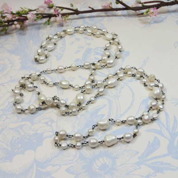 Luxe Freshwater Pearl Rope Necklace  Beautiful by SLCDesignsUK, £150.00
