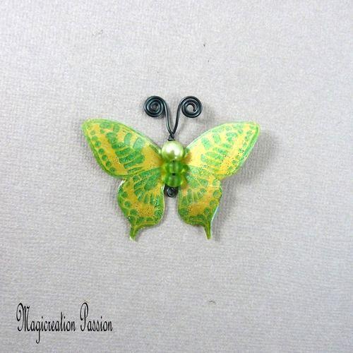 Papillon plastifié maéva vert et doré 5 cm