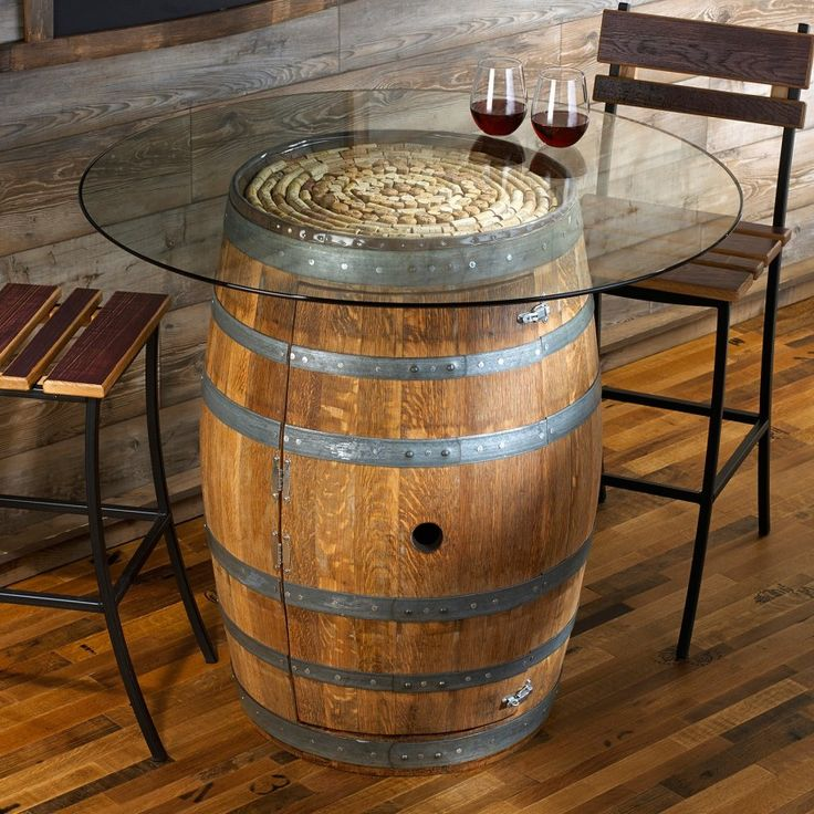 Reclaimed Rustic Wine Barrel Pub Table With Round Clear Glass Top