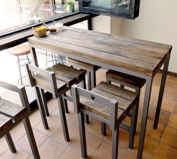 Mesa de madera con estructura de hierro para cafeter a en for Muebles artesanales