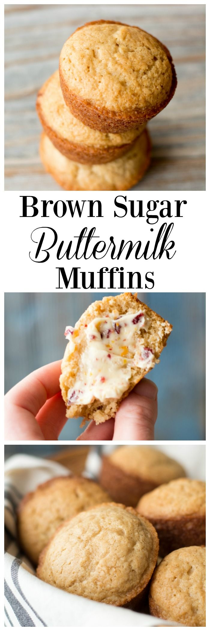 Delicious muffins made with brown sugar and buttermilk for a great texture and flavor. Easy breakfast that only uses one bowl.