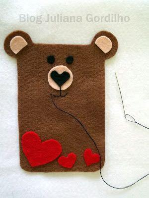 Tutorial, funda de móvil de fieltro con forma de oso