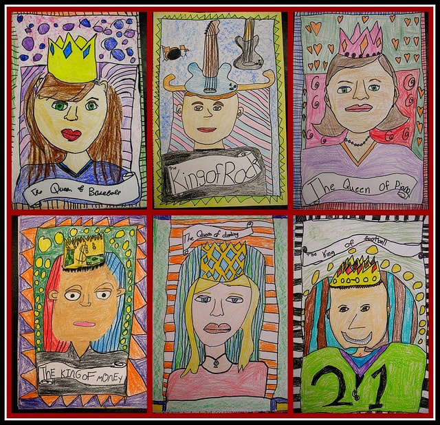 if doing a fairytale unit this would be a good art project. Self portraits as king and queens....Love this...or do a portrait of themselves as any fairy tale character!