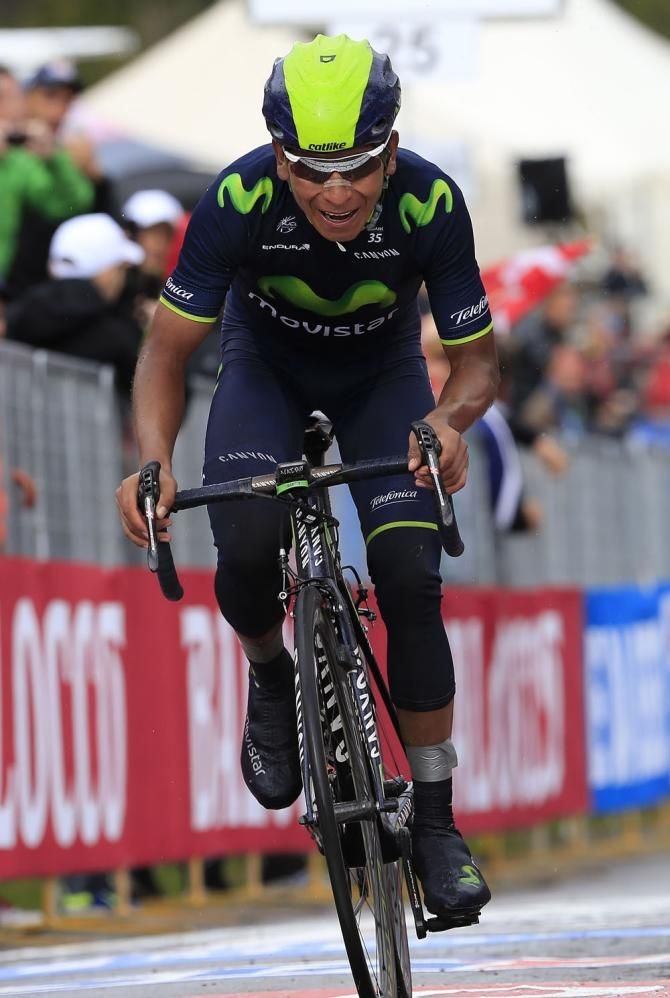 Nairo Quintana (Movistar) heads for the finish on stage 16 of the Giro d'Italia 2014