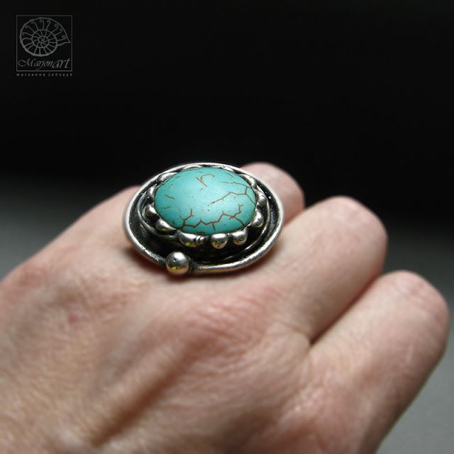 Pracownia Artystyczna Marjonart: nr306 #pierścionki #ring #rings #Ringe #кольца #anillos #turquoise #turkus #jewelry #jewel #jewellery #bijoux #ювелирныеизделия #design #jewelrydesigner #art #accessories #presents #handmade #biżuteria #rękodzieło #handmadejewelry #oxidized #vintage #natural #silver #exclusive #fashon #moda #stainedglass