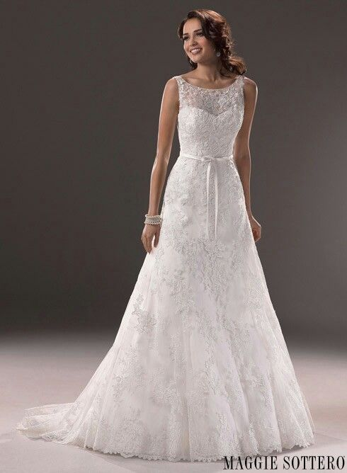 Maggie Sottero Wedding Dress Lace Straps A Line