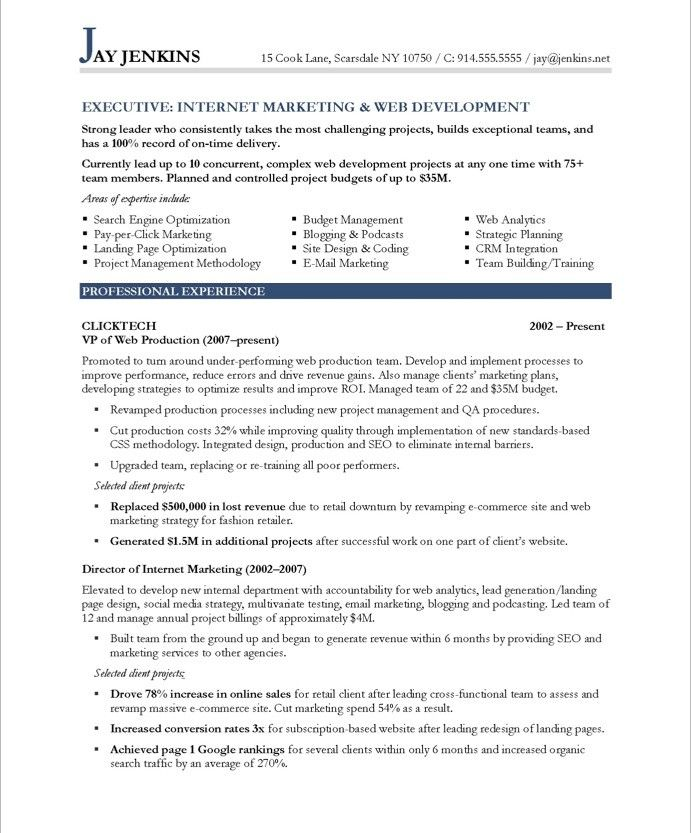 11 best Executive Resume Samples images on Pinterest Executive - different styles of resumes