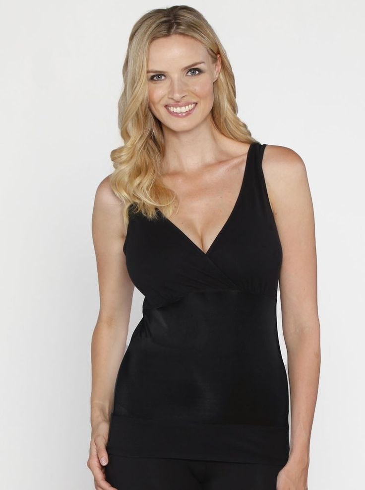 Postpartum Tummy Tight Solution V-Neck Nursing Support Tank, $49.95, features easy pull-side nursing access and can be worn as is or underneath your fave shirt.