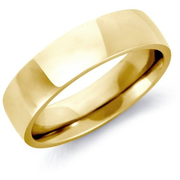 Blue Nile Low Dome Comfort Fit Wedding Ring in 18k Yellow Gold (6mm) ($860) ❤ liked on Polyvore