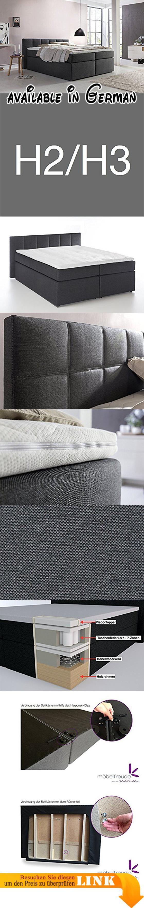 B01N680N6V : Boxspringbett Valina 220x200cm Anthrazit H2/H3 inkl. Lieferung ins Schlafzimmer & Visco-Topper Taschenfederkern-Matratze ideal für Dachschrägen amerikanisches Bett Hotelbett Polsterbett Doppelbett. Kopfteil mit 90cm Höhe speziell für Dachschrägen // Hochwertiges Luxus-Bett // Schlafen wie im amerikanischen premium Hotelbett // Wir haben auch hochwertige und extra passende Spannbettlaken für unsere Topper & Boxspringbetten! Wir liefern kostenlos in Ihr