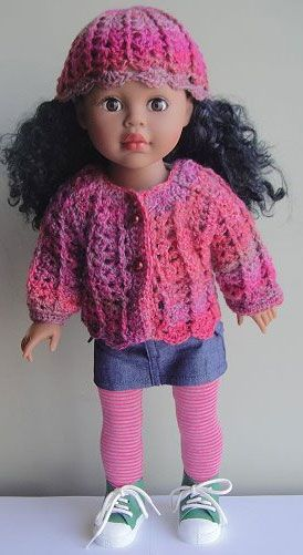 """18"""" Sausalito Crochet Shell Stitch Doll Set  Description: This crocheted hat and cardigan combo is stylish on your favorite 18"""" doll (such as Madame Alexander orAmerican Girl)."""
