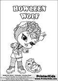 Coloring page with Howleen Wolf from Monster High. This printable colouring sheet show a cute baby or chibi version of Howleen Wolf and her porcukine pet in a frontal pose. The Howleen Wolf Monster High Baby colouring page is drawn by JadeDragonne ( http://jadedragonne.deviantart.com/ ) and made available for use with credit! Howleen Wolf from Monster High is a smart brunette Werewolf monster humanoid character. The printable page has a colorable HOWLEEN WOLF text that is shown in all upper…
