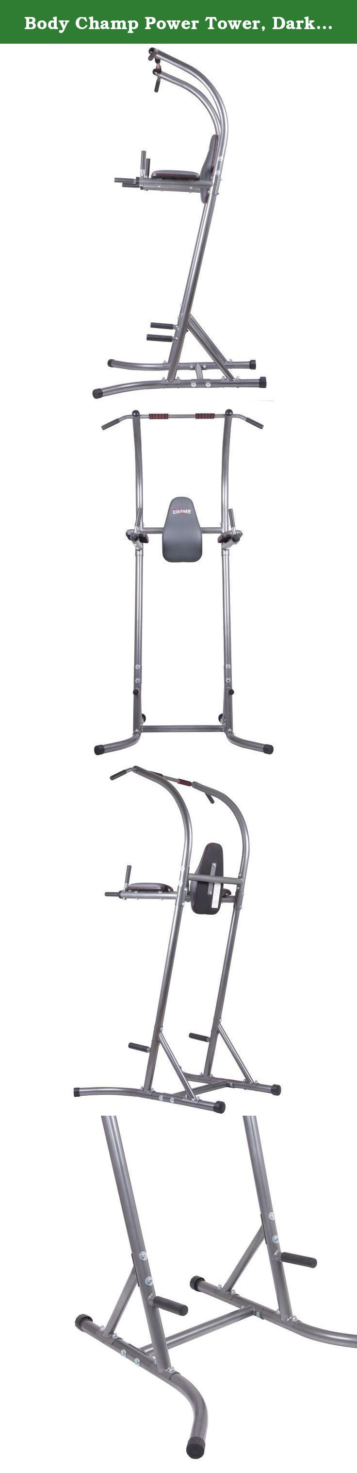 Body Champ Power Tower, Dark Gray/Black. The Body Champ PT620 Power Tower is a versatile total strength machine. Maximize your workout routines with exercise circuit stations including: pull-ups/chin-ups/vertical knee raises/dips/push-ups. Ergonomically designed and equipped with comfort-driven back and forearm pads as well as hand foam grips. Dip handles have fold-down capability for clear and free chin up exercises.