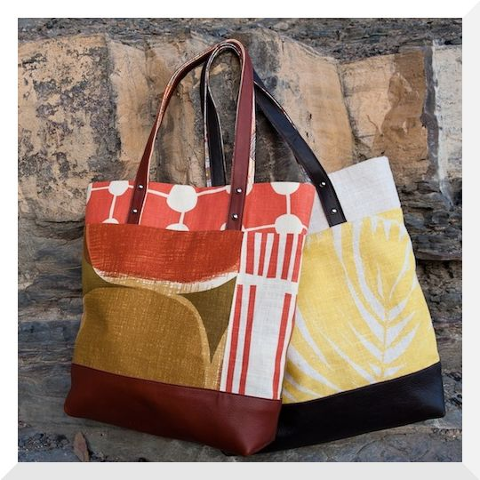 Cloth fabric & leather tote bags
