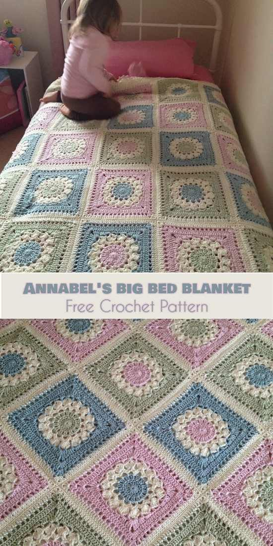 Annabel's Big Bed Blanket [Free Crochet Pattern]