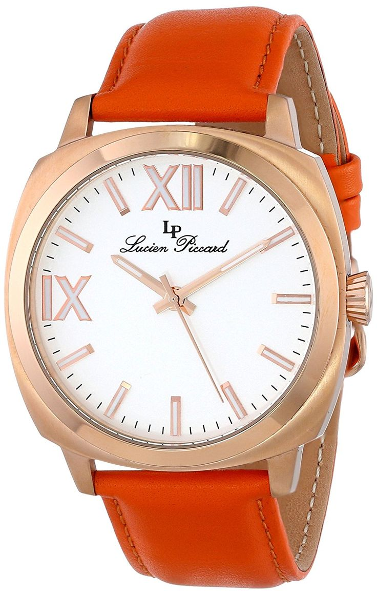 Lucien Piccard Women's LP-10032-RG-02-OR St. Tropez Stainless Steel Watch with Orange Leather Band >>> Click image to review more details.