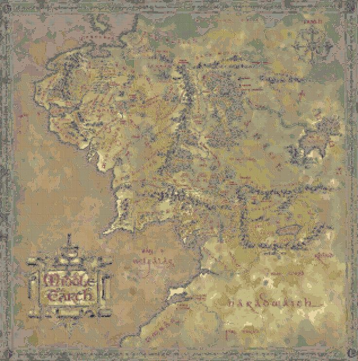 Yep, that's a cross stitch pattern for a Middle Earth map.