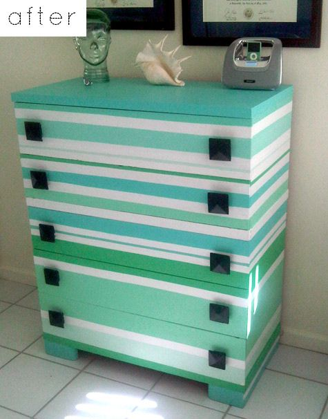 TO DO: Consider doing this to old chest...striped drawers turquoise, green & white