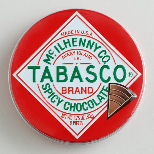 One of my favorite discoveries at WorldMarket.com: The Chocolate Traveler Tabasco® Chocolate Tin Yummy! Taste Grows on you.