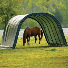 The instant equine shelter. This Run-In Shed was specifically designed for equine and livestock. These shelters will deliver easy shade and protection for horses, hay, storage, livestock and farm equipment. www.Anytimetack.com